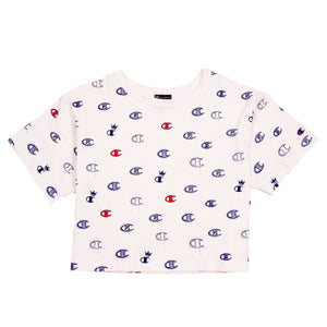 Champion Cropped Tee Print C's All Over White - Pict Clothing