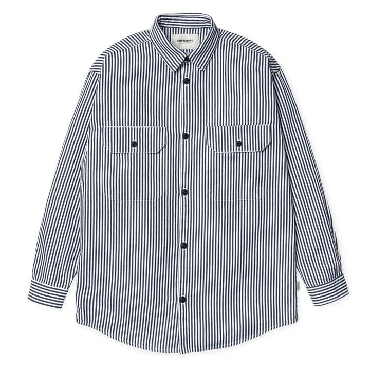 Carhartt W LS Great Master Shirt Blue/White Rinsed - Pict Clothing