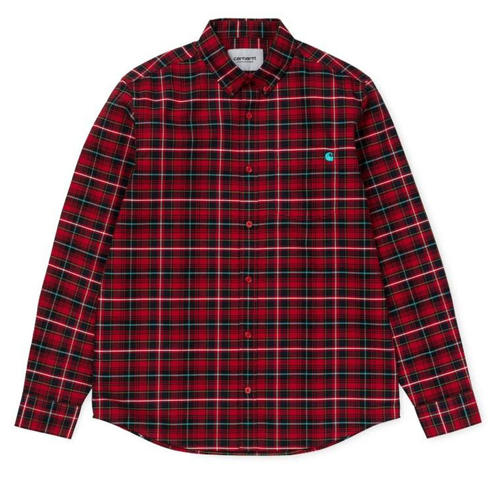 Carhartt LS Patton Shirt Blast Red/Soft Teal - Pict Clothing