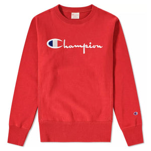Champion Reverse Weave Script Crew Team Red - Pict Clothing