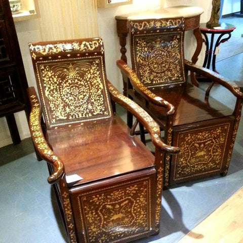 Vintage Pair Of Chinese Rosewood Reclining Chairs