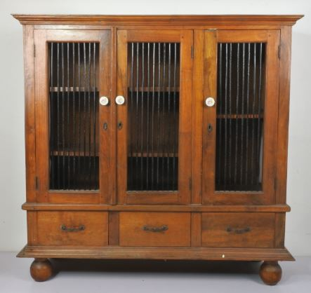 TEAK WOOD CABINET WITH CAGED DOOR-3 DOORS & 3 DRAWERS