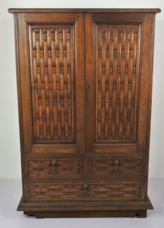TEAK WOOD CABINET WITH WEAVED DESIGN DOOR-2 DOORS & 3 DRAWERS