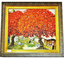 Red Tree in Village Centre by Duong Ngoc Son - Redsagaseeds