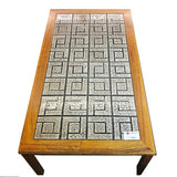 Red Saga Seeds - Large Vintage Danish Rosewood and Tile Coffee Table - Redsagaseeds