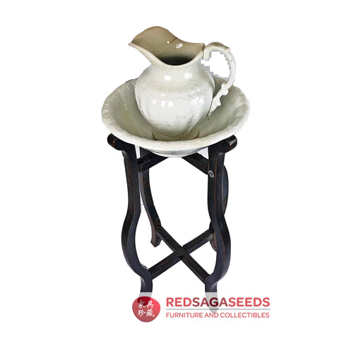 Red Saga Seeds - An Antique Washstand with Jug and Bowl