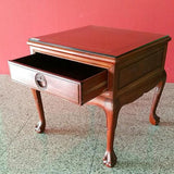 Red Saga Seeds - Oriental Rosewood Square Side Table With Glass Top - Redsagaseeds
