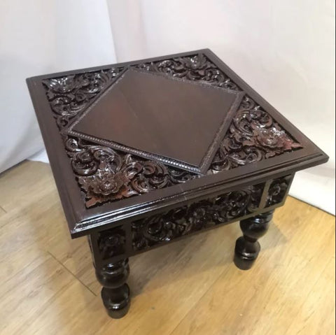 Small Antique Teakwood Floral carving side table - Redsagaseeds