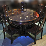 Oriental Rosewood Dining Set with Glass Top ( Pre-owned refurbished furniture)