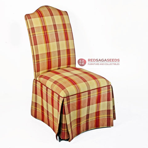 ETHAN ALLEN CHECKERED CHAIR ON CASTERS - Redsagaseeds