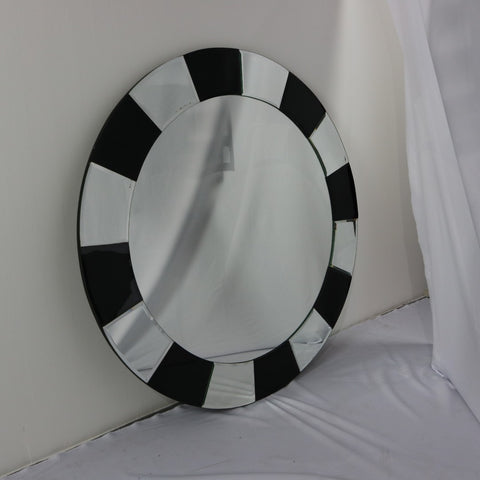 Retro Black and Silver Round Wall Mirror - Redsagaseeds