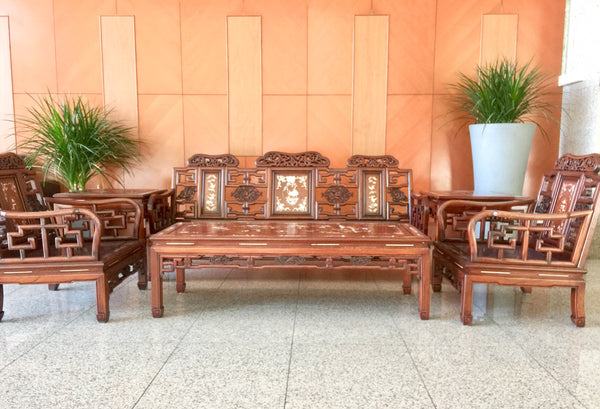 Rosewood Living Room Set Inlaid Mother of Pearl