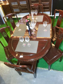 Oriental Rosewood Oval 6 Seater Dining Set