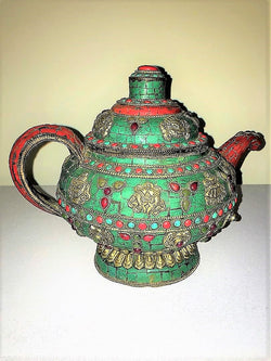 Antique Bronze Teapot Tibetan Inlay
