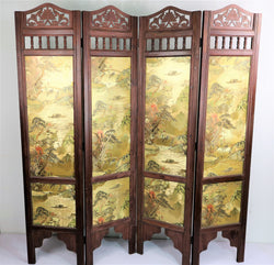 Vintage Oriental Double Sided 4 Panel Partition
