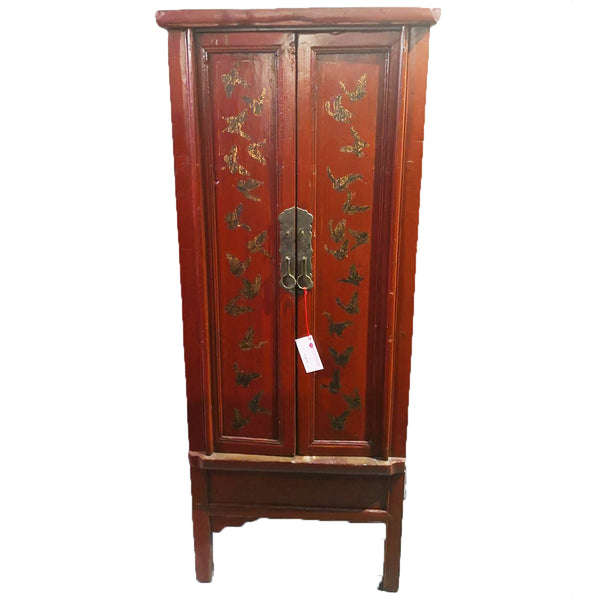 Hand-Painted Red Lacquered Antique Chinese Cabinet