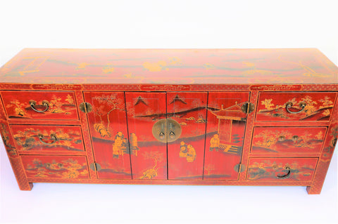 Vintage Hand-Painted Sideboard Cabinet