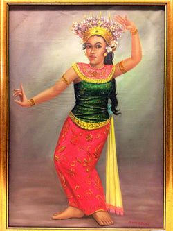 Balinese Dancer Landscape Oil Painting By DURADIAT