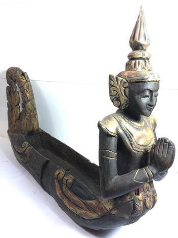 Wooden Sculpture Buddhist Statue Display