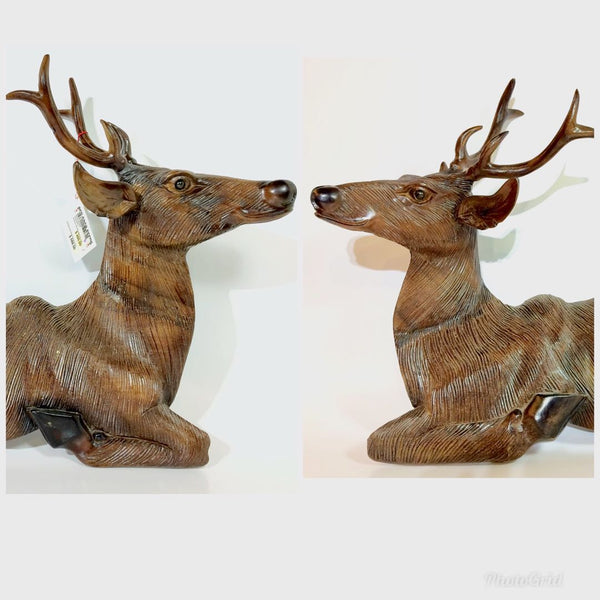 Wooden Pair of Deer Wall Display