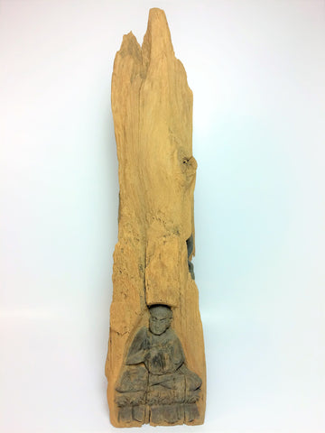 Handcrafted Monk 3 Images Wooden Tree Trunk