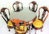 Rosewood Queen Ann Grape Motif Round Dining Table w/ 5 chairs