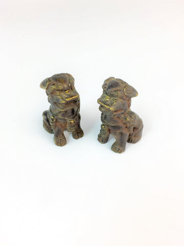 Pair of Small Lion Sculpture Bronze