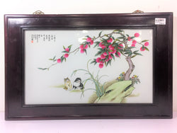 Hand Painted Porcelain Plaque on Hardwood Frame