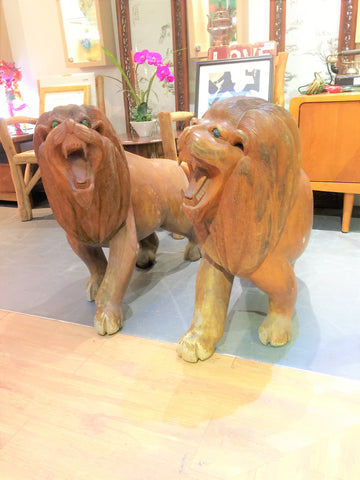 Pair of Large Wooden Lion Sculpture
