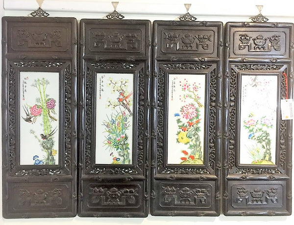 4 Pieces Vintage Porcelain Panel