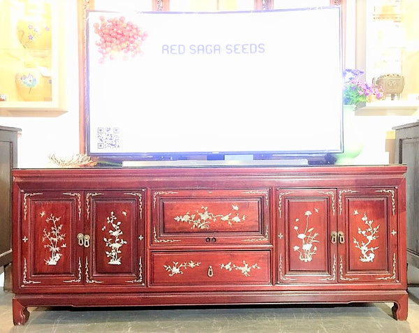 Rosewood Media Console Inlaid Mother of Pearl
