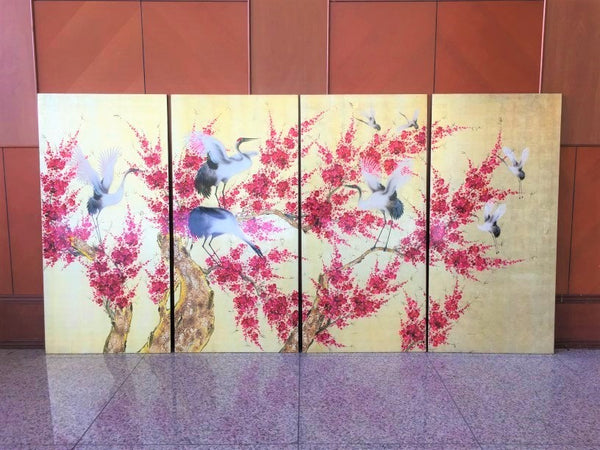 Antique Japanese Crane 4 Panel Display