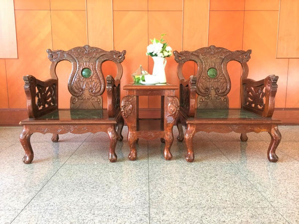 Set of Vintage Dragon Marble Chair