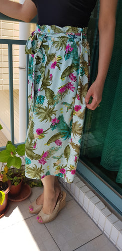 Aqua green skirt with flowers