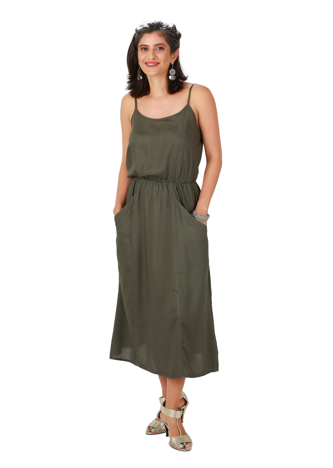 Military Green Spaghetti Midi Dress