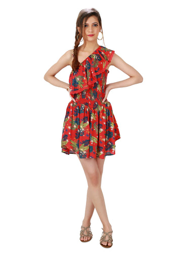 One shoulder Floral Mini Romper