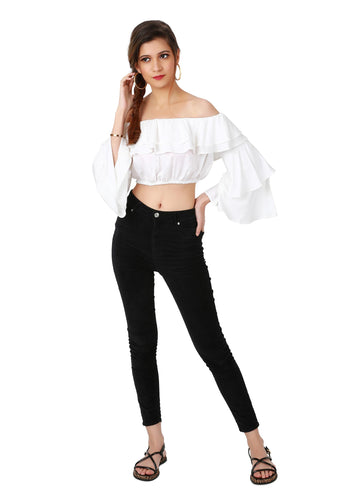White Crop Top with Ruffles