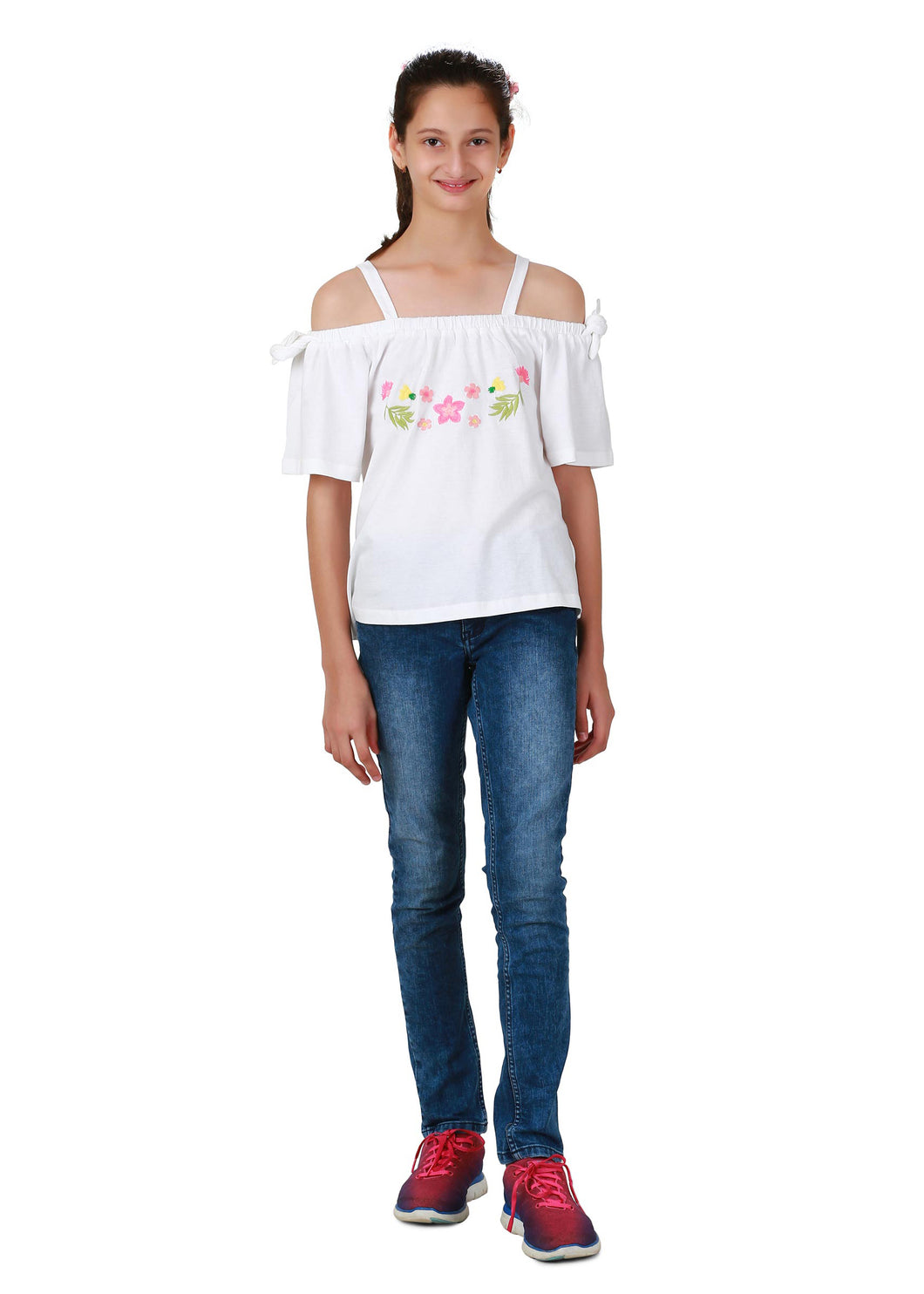Off-shoulder with straps Embroidered Top