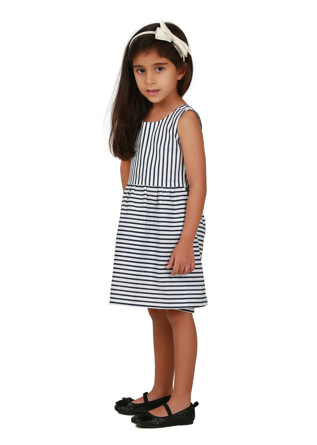 Black n White Striped Fancy Back Dress