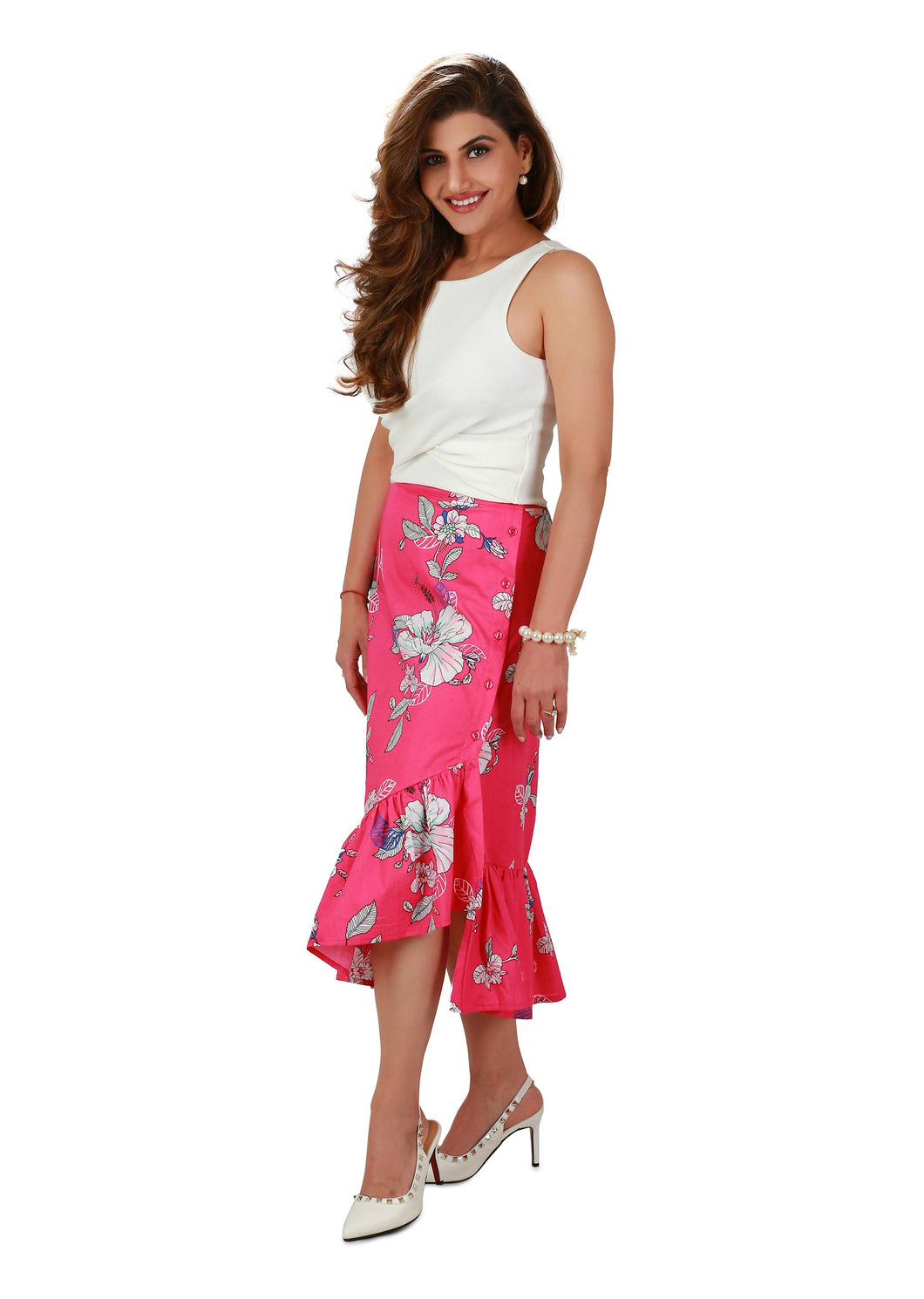Hot Pink Printed Midi Skirt
