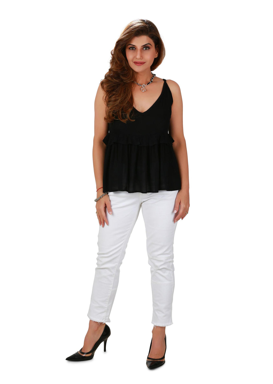 Black Scoop-neck Ruffle Top
