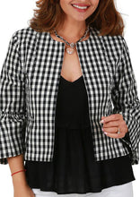 Crop Check Jacket with Ruffles