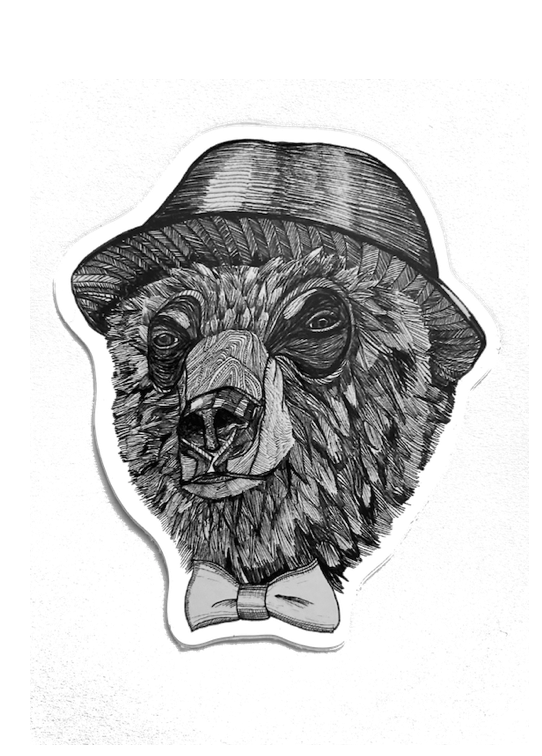 Sticker Bear with Hat