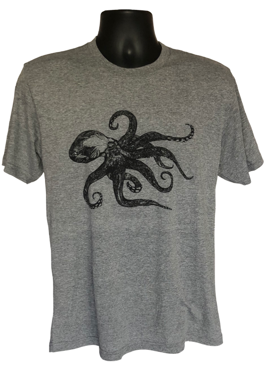 T-Shirt - Octopus Heather Gray Short Sleeve Crew-Neck T-Shirt