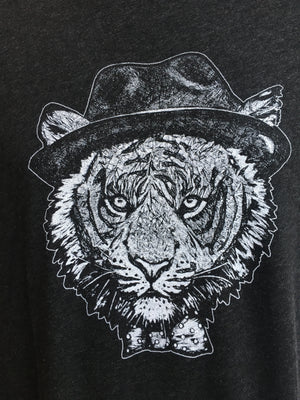 T-Shirt - Tiger Hat Men's Short Sleeve Crew-Neck Tri-Blend T-Shirt