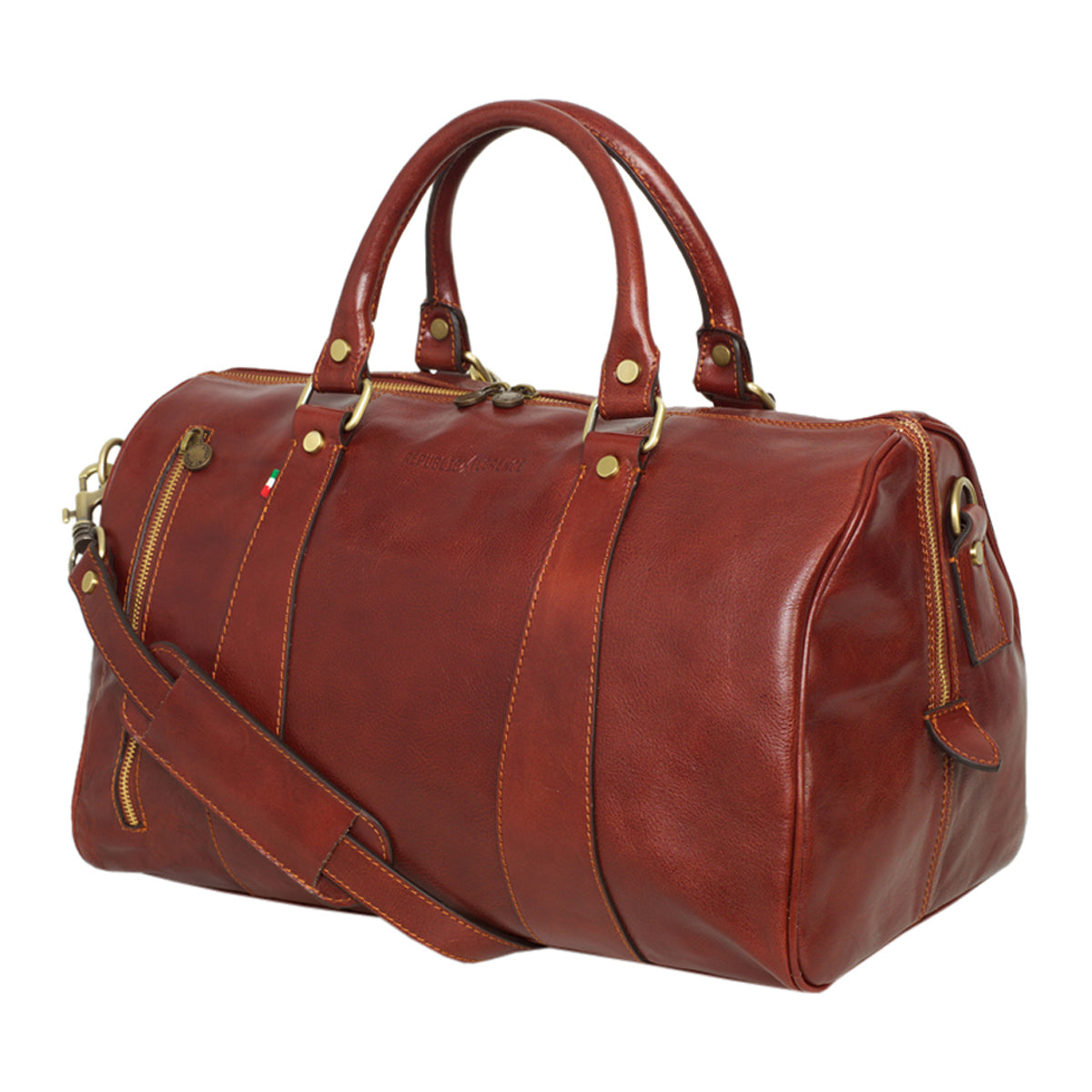 ab6294b8544 ... Florence - Men s Leather Duffle Bag - Small Nardi Brown - Leather  Overnigth Duffle Bag.  Best Authentic Italian Leather Products Online  -  Leathershop