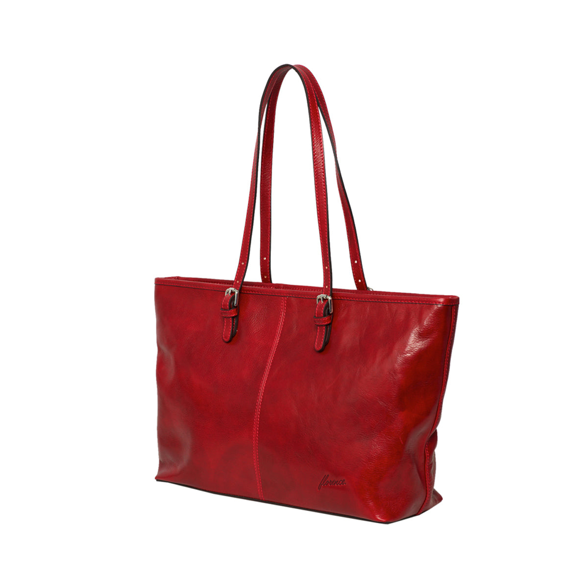 Elena Red - Vegetable Tanned Leather Large Bag