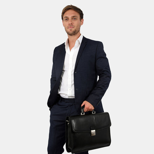 Acton Black - Leather Briefcase single compartment