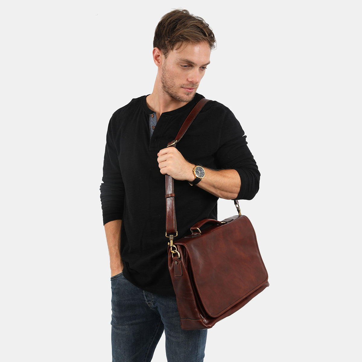 Copenhagen Brown - Leather Messenger with safety buckle