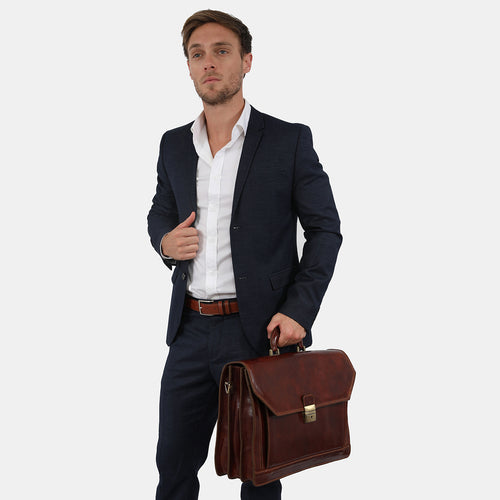 Leyton Brown- Leather Briefase three compartments